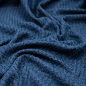 Teal Denim Waffle Rayon Spandex Open Knit Fabric by the Yard