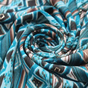 Teal Gold on Geometric Design ITY Stretch Jersey Knit Fabric