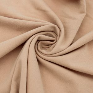 Tan Solid Double-Sided Brushed DTY Stretch Fabric