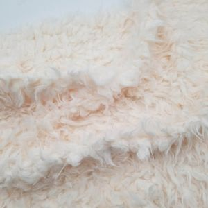 Cream Flokati Curly Faux Fur Cuddly Fabric by the Yard - Style 6716