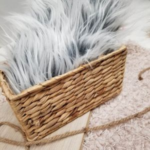 """Silver Frost 3"""" long Pile Mongolian Faux Fur Fabric Newborn Nest,Photo Props by the Yard"""