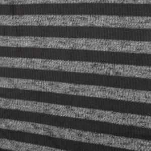 Black Heathergray Slub 2x2 Hacci Rib Rayon Poly Spandex Rib Knit Fabric