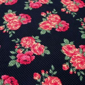 Red and Black Floral Pattern Knit Fabric
