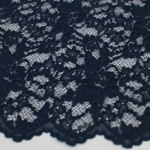 Ink Floral Pattern on Scallop Cut Lace Fabric