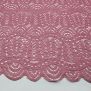 Desert Rose Moringa Leaves Pattern on Lace Fabric by the Yard
