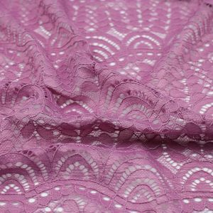 Mauve Moringa Leaves Pattern on Lace Fabric by the Yard