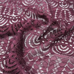 Plum Moringa Leaves Pattern on Lace Fabric by the Yard