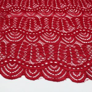 Ruby Moringa Leaves Pattern on Lace Fabric by the Yard