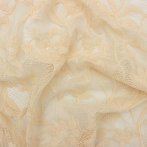 Nude Floral Pattern Nylon Spandex Scallop Lace Fabric