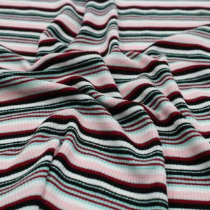 Black and Pink 2x1 Rib Striped Rayon Poly Spandex Fabric by the Yard