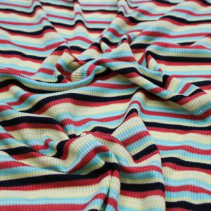 Mint Ginger 2x1 Rib Striped Rayon Poly Spandex Fabric by the Yard