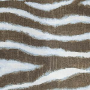 Blue and Taupe Zebra Stripes Drapery Upholstery on 45'' Canvas Fabric