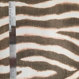 Coral and Taupe Zebra Stripes Drapery Upholstery on 45'' Canvas Fabric