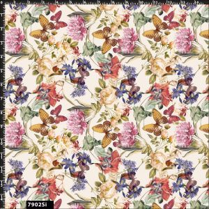 Watercolor flowers and Butterfly Design 100% Cotton Quilting Fabric by the Yard - (Cream, Gold, Rose and Purple)
