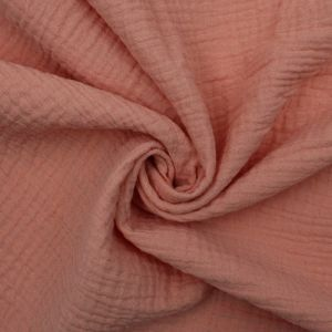Peach Papaya Solid Color 100% Cotton Gauze Fabric by the Yard