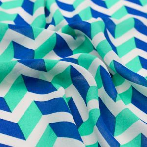 Blue Seafoam Arrowhead Chevron Light Chiffon Fabric by the Yard