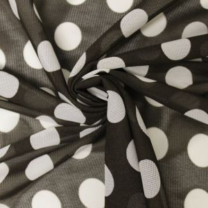 Brown White Polka Dot Power Mesh Fabric