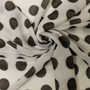 Off White Brown Polka Dot Power Mesh Fabric