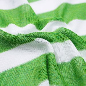 Green White Striped Light-Weight Soft and Stretchy Sweater Knit Fabric