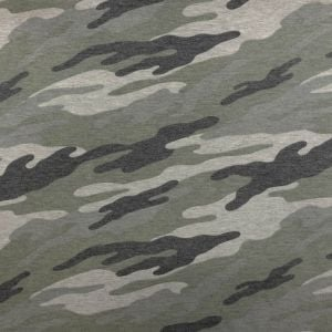 Army Green Gray Camouflage Print on French Terry Fabric