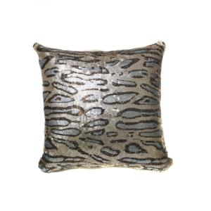 Beige Gray Cheetah Sequin 16x16 Pillow with  Shimmer Pillow Sham Accent Pillow