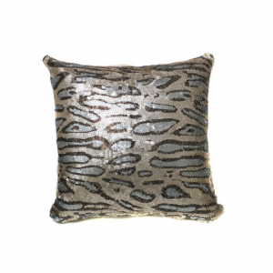 Beige Gray Cheetah Sequin 12x18 Pillow with  Shimmer Pillow Sham Accent Pillow