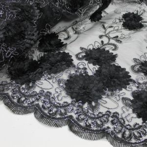 Elegant Black 3 Border Floral Embroidered Lace With Flower Sequins Embroidered Lace Fabric 3D