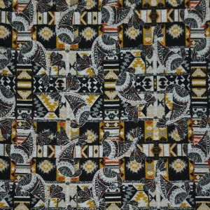 Black Gold Paisley Print on Hacci Brushed Fabric