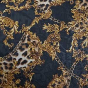 Black with Gold Chain Print Hi-Multi Chiffon Fabric