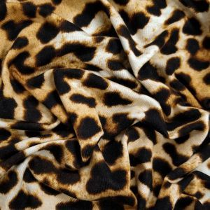 Black Golden Brown Leopard Pattern Prints on Rayon Spandex Jersey Knit Fabric,DIY Project by the Yard