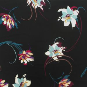 Black with Opal Flowers on 97% Polyester and 3% Spandex Bubble Chiffon Fabric