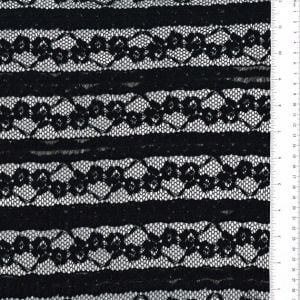 Black Samantha Stretchy Cotton Floral Lace Fabric Ruffle Lace Fabric