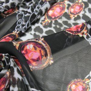 Black Chain and Jewel Printed Pattern Chiffon Fabric