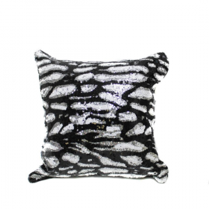 Black White Cheetah Sequin 16x16 Pillow with  Shimmer Pillow Sham Accent Pillow
