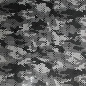 Charcoal Camouflage Football Mesh Poly Stretch Sports Knit Fabric