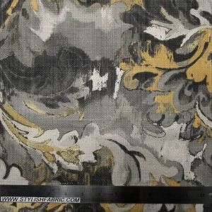 Charcoal Mustard Planters in Swirl Garden Pattern on Cotton Canvas Fabric