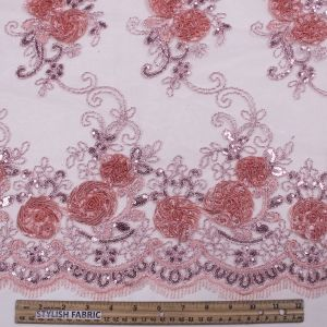 Coral 3D Melissa Double Floral Embroidered with Sequin Foil Mesh Scalloped Lace Fabric