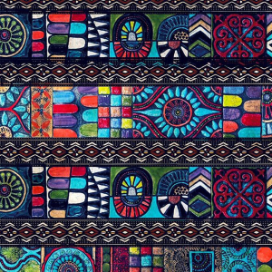 Traditional Patterns (cool) Design Printed on 100% Cotton Quilting Fabric by the Yard