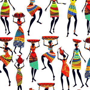 Traditional Women  Design Printed on 100% Cotton Quilting Fabric by the Yard