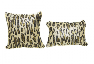 Cream Gold Cheetah Sequin 16x16 Pillow with  Shimmer Pillow Sham Accent Pillow