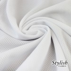White Heavyweight Athletic Wear Dimple Mesh Fabric