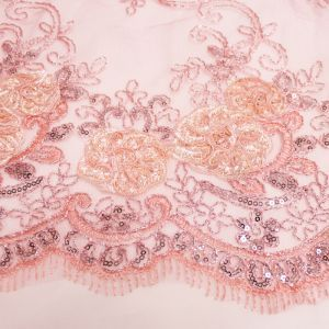 Dusty Pink 3D Melissa Double Floral Embroidered with Sequin Foil Mesh Scalloped Lace Fabric