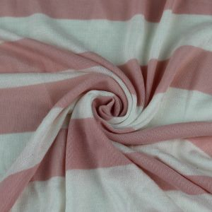Dusty Pink Off White Poly Rayon Hacci Stripes Fabric