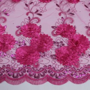 Elegant Fuchsia 3 Border Floral Embroidered Lace With Flower Sequins Embroidered Lace Fabric 3D