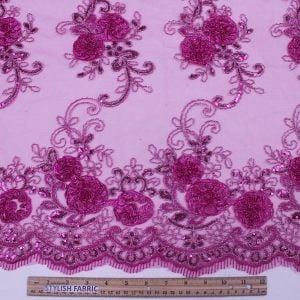 Fuschia 3D Melissa Double Floral Embroidered with Sequin Foil Mesh Scalloped Lace Fabric