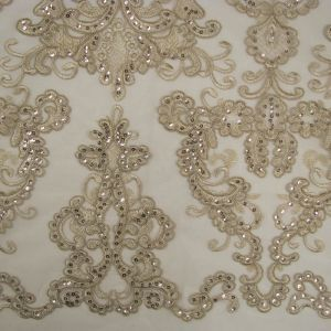 Gold Embroidered Floral Seamless Pattern and Sequin on a Scalloped Edge Lace Fabric