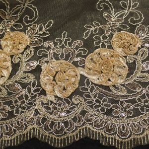 Gold Dark 3D Melissa Double Floral Embroidered with Sequin Foil Mesh Scalloped Lace Fabric