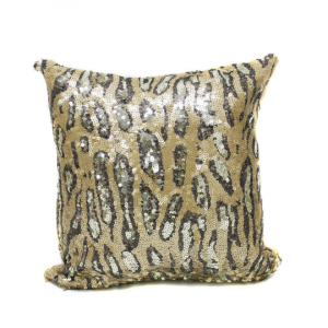 Gold Cheetah Sequin 16x16 Pillow with  Shimmer Pillow Sham Accent Pillow