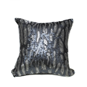 Gray Silver Cheetah Sequin 16x16 Pillow with  Shimmer Pillow Sham Accent Pillow
