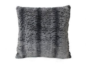 Gray White Embossed Mink Faux Fur Throw Pillow Cover